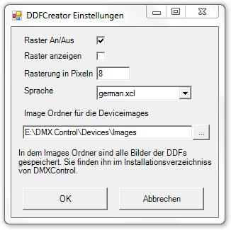 Picture 1: Konfigurationsfenster des DDFCreators