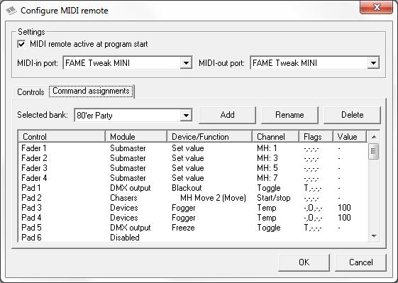 Picture 3: MIDI remote control configuration, command assignment