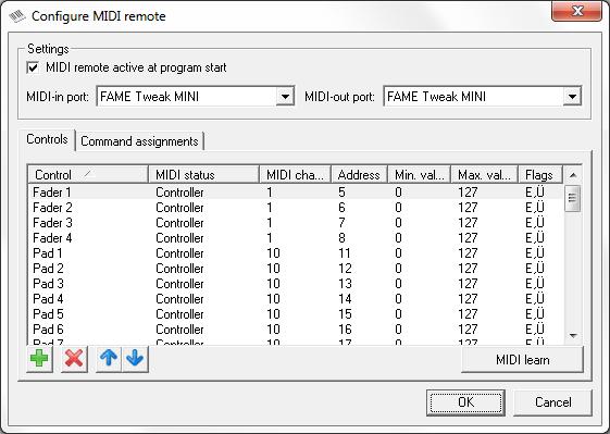 Picture 2: MIDI remote control configuration, control element