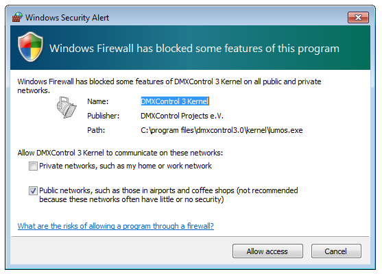 Picture 5: Firewall setup